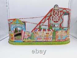J. Chein Mechanical Tin Lithographed Windup Roller Coaster Vintage Not Working