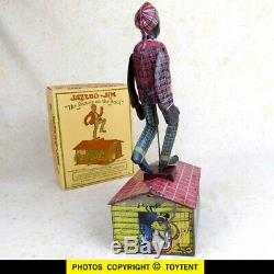 Jazzbo Jim the Dancer on the Roof 1921 Unique Art tin wind-up toy. SEE MOVIE