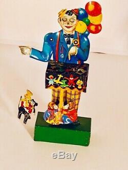 Kellerman Rare German Tin Litho Wind Up Balloon Man With Mickey Mouse