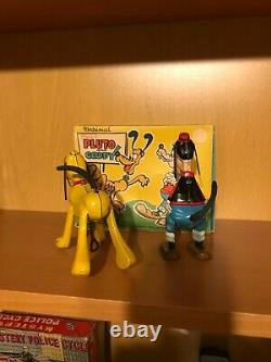 LINEMAR Rare Tin Wind-up PLAYFUL PLUTO and GOOFY BOXED SET OF 2 Toys! REDUCED