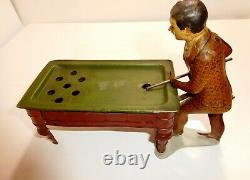 LOOK Tin wind-up billiard pool toy C1920 Gunthermann Germany Exc condition NR