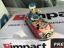 Linemar Donald Duck Driving Car Complete Great Wind Up Toy Works Great Shape