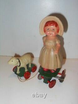 Little boo peep vintage wind up tin toy celluloid doll Japan OHTA K trademark