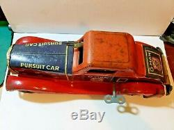 Louis Marx G-Man Justice Pursuit Car Wind-Up Toy Pressed Steel Spark Car