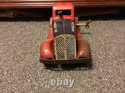 Louis Marx G-Man Justice Pursuit Car Wind-Up Toy Pressed Steel Spark Car AS IS