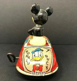 Louis Marx Mickey Mouse Tin Wind-up-Car, Vintage