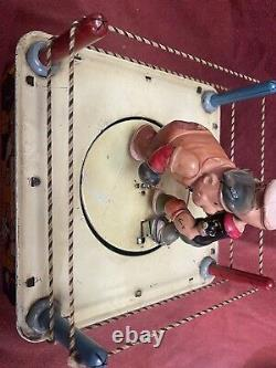 Louis Marx POPEYE THE CHAMP tin Wind Up Boxing Ring. Working