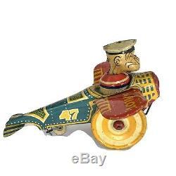 MARX 1930s Popeye the Pilot Airplane Aeroplane Tin Windup Toy Antique Rare