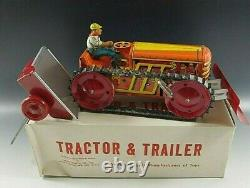MARX 1950s CLIMBING TRACTOR AND TRAILER SET TIN WINDUP TOY VINTAGE ORIGINAL BOX