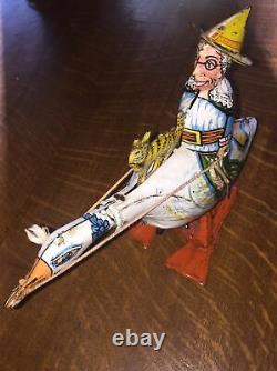 MARX Antique Mother Goose with Cat Galloping Goose Wind Up Tin Toy