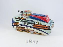 MARX Rex Mars Planet Patrol Sparking SPACE TANK Wind up tin toy vintage 1950s 53