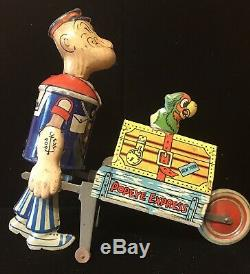 MARX TIN LITHO WIND-UP POPEYE BAGGAGE EXPRESS with PARROT ON TOP WORKS