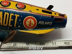 MARX Tom Corbett Space Cadet Polaris 2 Tin Litho Rocket Ship WINDUP Works