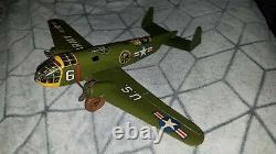 MARX US ARMY AIRPLANE VINTAGE Windup AeroPlane Plane TIN MARX TOY 2 Propeller