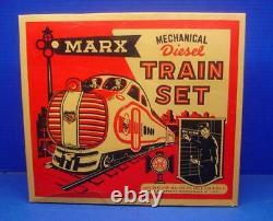 Marx #754 Seaboard AA diesel locomotive train set, caboose, box, key windup EX++