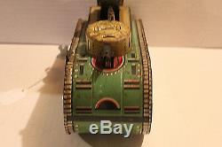 Marx Dough Boy Metal Wind Up Tank Tin Litho Wind Up Key 1930's IT WORKS
