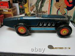 Marx Giant King Boat Tail Tin Litho Blue Indy Racer 1941 Wind Up 13 Exc Works