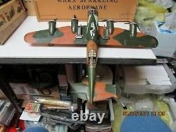 Marx Sparkling Aeroplane Windup Tin Camouflage Us Army Airplane In Box Nm Works