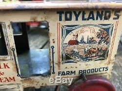Marx TIN LITHO WIND UP TOYLAND'S FARM PRODUCTS HORSE DRAWN MILK & CREAM WAGON