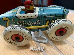 Marx Tin Litho toy WIND UP toy MIDGET RACER # 7
