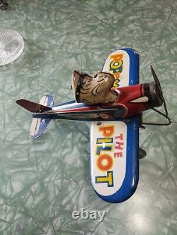 Marx Tin Lithographed Popeye In An Airplane Wind-up Toy