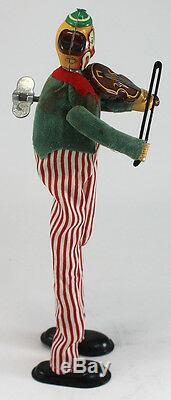Mechanical Happy The Violinist Clown Antique Wind Up Toy TPS Marked