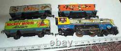 Mickey Mouse Marx Meteor Litho Wind-up Tin Disney Toy Metal Train Set Lionel