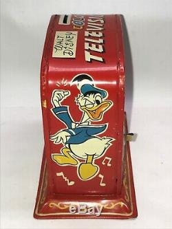 Mickey Mouse Tin Wind Up Walt Disney Productions Linemar Japan Television tv