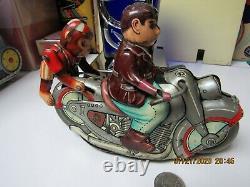Monkey Rider Motorcycle Tin Litho Wind Up 1950 Kanto Japan Works Rare Toy