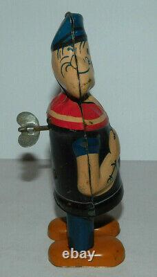 Neat Vintage Chein Toy Tin Wind Up Popeye Walking Toy Works Great