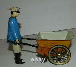 Neat Vintage Lehmann Tin Wind Up Toy Tap Tap Man With Cart Pat 1903