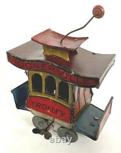 Old Antique 1922 TOONERVILLE TROLLEY Fontaine Fox WIND UP TOY with Driver