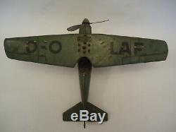 Old Rare D-OLAF Airplane Wehrmacht Tipp&Co. Wind Up Tin Toy Bomber Germany 1930s