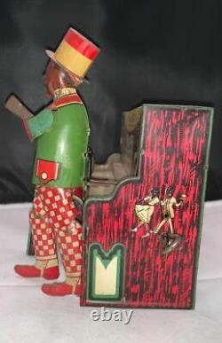 Old Tin Wind up Piano Ham and Sam The Minstrel Team Black Americana Strauss