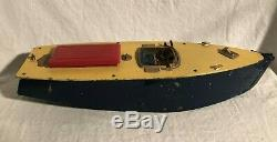 Orkin Craft Speedboat Huge Wind Up Motorboat Toy Working Clockwork Germany 1920