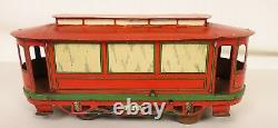 Orobr Rare German Made Tin Litho Wind-up Trolley-street Car-nice Condition