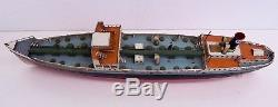 Pair of Vintage German Fleischmann Toy Tin Wind Up Painted Esso Oil Tanker Boats