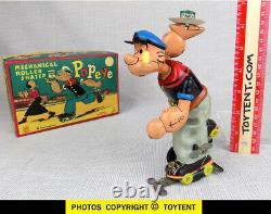 Popeye Roller Skater mechanical tin toy TPS Japan T. P. S. Linemar 1957 SEE MOVIE