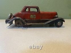 Pre-War 1930 HOGE Pressed Steel Vintage GIRARD Windup Fire Chief Car Lge 14