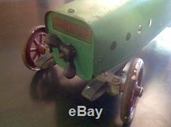 RARE 1920 Vintage Structo Windup Pressed Steel Race Car Toy Original Attic Find