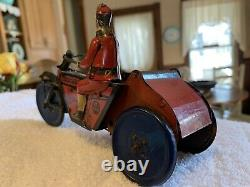 RARE 1920s MARX INDIAN MOTORCYCLE & SIDECAR TIN LITHO WIND-UP TOY READ