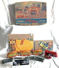 RARE 1930's Lionel MICKEY MOUSE Circus Train Set withorg box Disney Tin Windup Toy