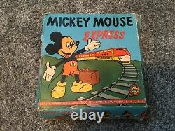 RARE 1950's Marx/Disney Tin Wind Up Mickey Mouse Express. Works great no rust