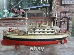 RARE FLEISCHMANN CARETTE TIN TOY WINDUP SHIP 4 FUNNELS GERMANY c 1905 ORIG PAINT