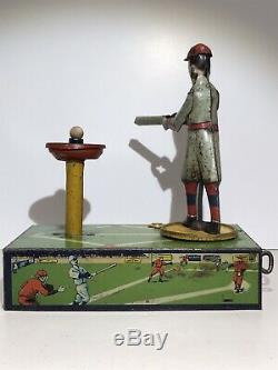 RARE HOME RUN KING BASEBALL TIN LITHO WIND UP TOY MADE IN USA BY SELRITE 1920s
