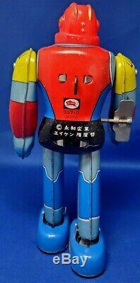 RARE HTF UFO WARRIOR DAI APOLON ROBOT VINTAGE WIND UP TOY 1970's BULLMARK JAPAN