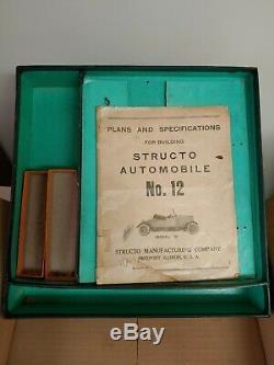 RARE ORIGINAL BOX, INSTRUCTIONS & CRANK for Structo No. 12 Deluxe Roadster Car