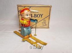 RARE VINTAGE 1940's CHEIN & CO TIN WIND UP SKI BOY TOY & BOX