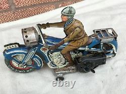 RARE VINTAGE antique ARNOLD TIN MOTORCYCLE GERMANY CLOCK WORK Wind Up LITHOGRAPH