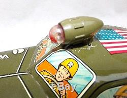 RARE Vintage 50's Louis Marx Toys 11 Tin Wind Up ARMY STAFF CAR